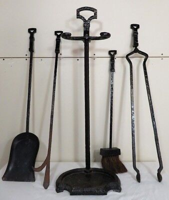 ANTIQUE Arts & Crafts Forged CAHILL CAST IRON FIREPLACE TOOLS SET Art Deco Vtg