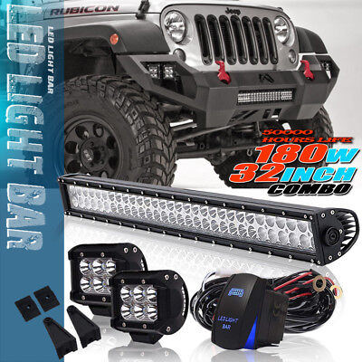 32inch 180W Led Light Bar Combo For Jeep Ford F150 With 18W Spot + Wiring Kit