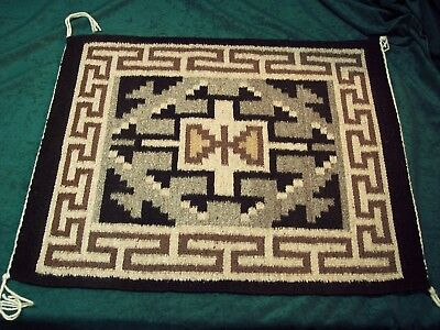 """Authentic Navajo Tapestry - Two Gray Hills 20"""" by 24"""" - Flawless!"""