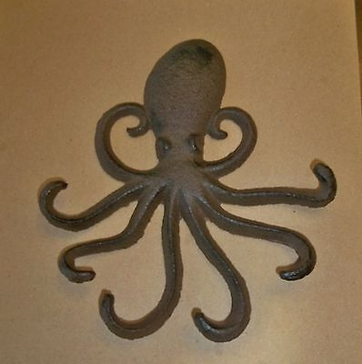 Octopus Cast Iron Key Hook Beach Nautical Coastal Towel Robe Jewelry Hanger
