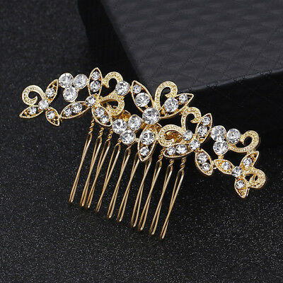 Wedding women hair bride Accessories Gold Hair Comb piece Clip Pin Bridal