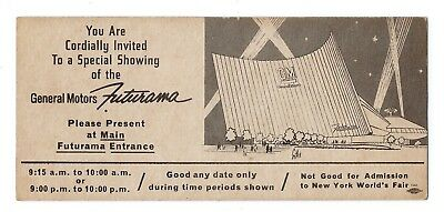 General Motors Futurama ticket, 1964 New York World's Fair, automotive history