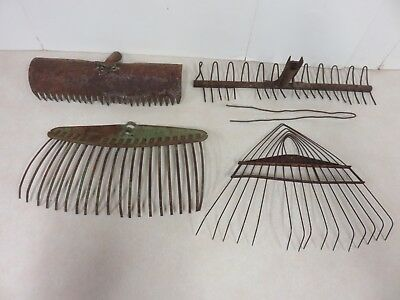 Lot Of Four Rustic Garden Rake Heads Vintage