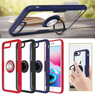 For Apple iPhone 7 / 8 Plus Transparent Slim Hard Armor Case With Ring Kickstand