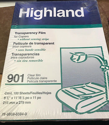 Highland 901 Clear Transparency Film for Copiers 100 Sheets New In Box 3M