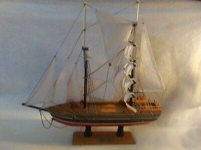 "Vintage 15"" Blue Nose Boat Replica Model Wooden Schooner Tall Ship Collectible"