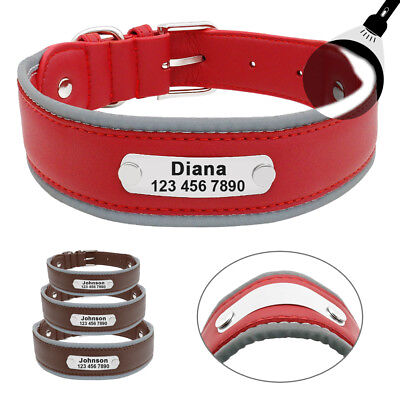Personalised Engraved Leather Dog Collar Reflective for Large Dogs Pitbull M-XL