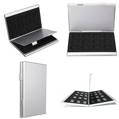 Durable 24TF Micro SD Card Storage Box Aluminum Memory Cards Case Holder Silver
