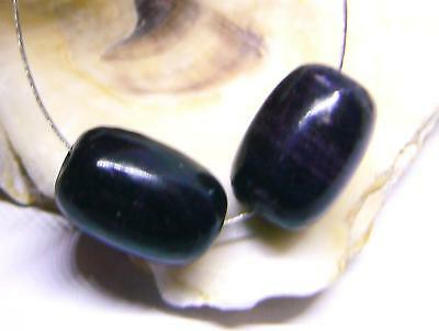 2 RARE HUGE NATURAL AFRICAN PURPLE SUGILITE BARREL BEADS 14mm 27.5cts AAA