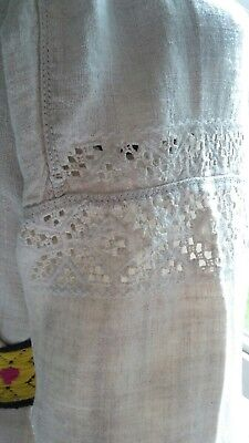 Antique   Ukrainian  Hemp    Handmade   Hand Embroidered Shirt  .