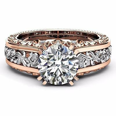 Classic Crystal Diamond Engagement 14K Rose Gold&Sterling Silver Wedding Ring CA