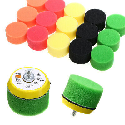 "16Pcs 50mm/2"" Sponge Buff & Wax Heavy/Light Cut Car Flat Polishing Buff Pad Set"