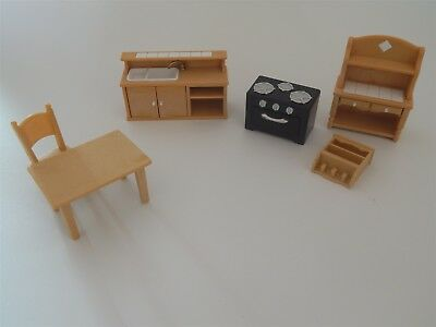 Sylvanian Families kitchen set, cooker, sink unit, dresser, table and chair