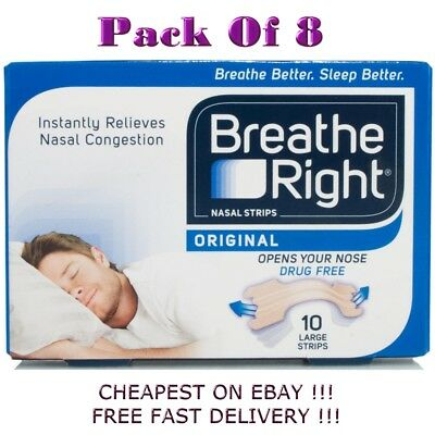 Breath Right  CLEAR Large 10 Nasal Strips  Pack of 8
