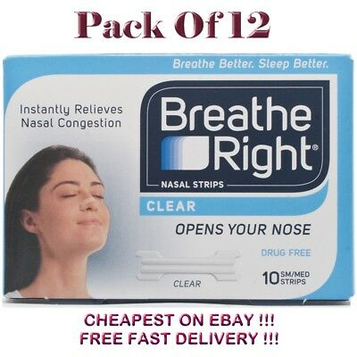 Breath Right  CLEAR  Small / Medium  10 Nasal Strips  Pack of 12