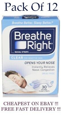 Breath Right  CLEAR Small / Medium 30 Nasal Strips  Pack of  12