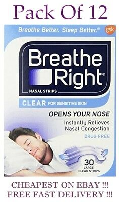 Breath Right  CLEAR 30 Tan Large Nasal Strips   Pack of  12
