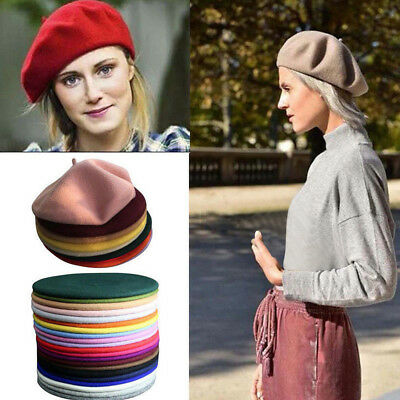 French Artist Lady Beret Style Solid Winter Warm Wool Beanie Hat Women Ski Cap