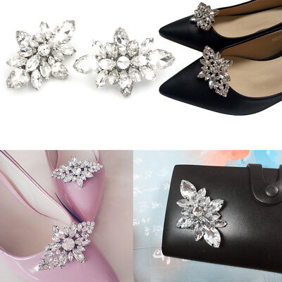 Crystal Diamond Shoes Clips DIY Shoes Flower Charms Bridal Wedding Shoe Clips MW
