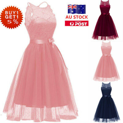 Women Lace Sleeveless Belt Swing Dress Evening Party Bridesmaid Ball Prom Gown