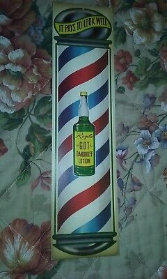 "RAYETTE DANDRUFF LOTION BARBER POLE DIE-CUT AD 5"" x 18"" IT PAYS TO LOOK WELL"