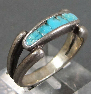 Antique Edwardian Art Deco 925 Sterling Silver w/Turquoise Gemstone Ring Jewelry