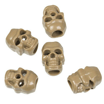 Skull Shaped Cord Locks Toggles Stoppers Drawcord Holder (Pack of 10) Coyote Tan