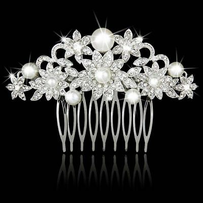 Wedding hair Accessories Flower Silver Hair Comb Pearls Clip Pin Bridal Bride