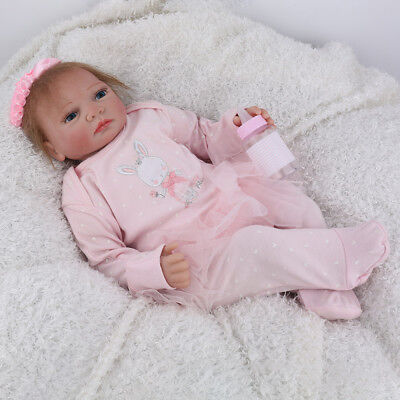 """Happy Xmas 22"""" Reborn Baby Dolls Girl Soft Silicone Newborn Toddler Real For Kid"""