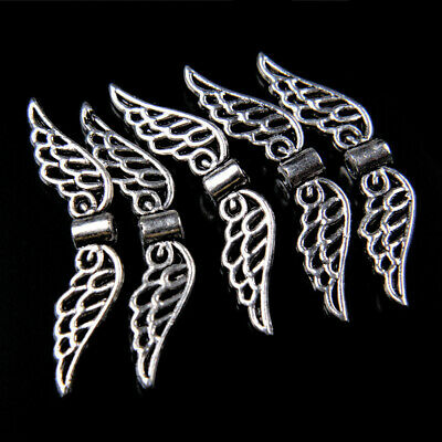 SC6021 BULK 50 Wing Spacer Beads Antique Silver Tone 2 Sided Hammered Look