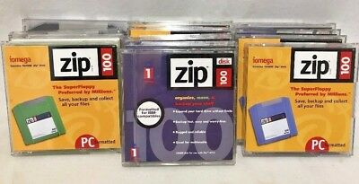 Lot of 13 Iomega Zip Drive Disk 100 MB PC and IBM Formatted Used & Unused PC100