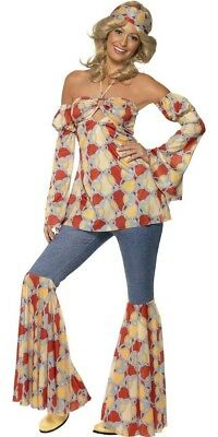 70S Vintage Hippy Costume Adult Womens 60S Fancy Dress Outfit Flared