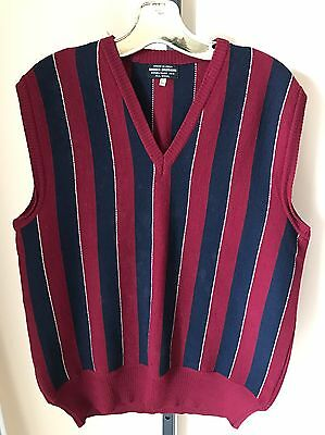 Brooks Brothers Vest Wool Italian Vintage Striped Large V Neck Sweater Normcore