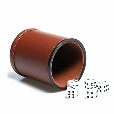 Leather Dice Cup Set Felt Lining Quiet Shaker with 5 Dot Dices for Farkle