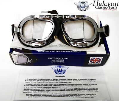 Hand Made Halcyon Compact Mark 49 Brown Leather Goggles Use On Open Face Helmet
