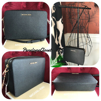 610320632f793d Nwt Michael Kors Saffiano Leather Jet Set Large Ew Crossbody Bag In Black