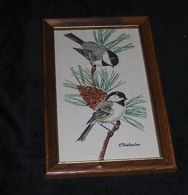 Vtg Painted Chicadee Birds On Pine Cone Tree Fabric Wooden Framed Wall Hanging