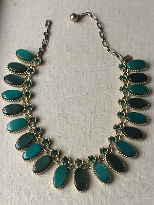Vintage Gold Tone Green Lucite Plastic Rhinestones Link Necklace w/ hook closure