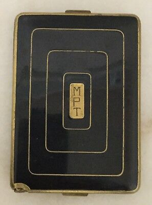 RICHARD HUDNUT Black & Gold Enamel Compact + Cigarette Case Art Deco