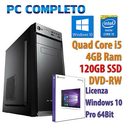 COMPUTER ASSEMBLATO NUOVO PC FISSO DESKTOP QUAD CORE i5 4GB SSD 120GB WINDOWS 10