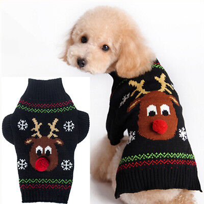 Christmas Pet Dog Cat Sweater Knit Winter Warm Puppy Clothes Xmas Costume S-XL