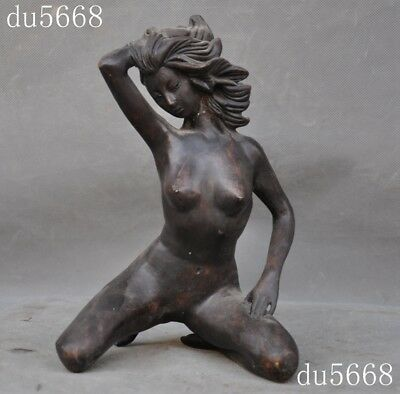 Collect old Chinese China bronze copper Body Art nude Belle girl beauty statue
