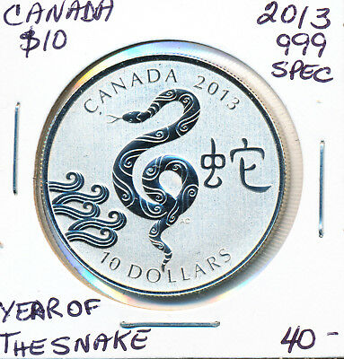 Canada Year Of The Snake Fine Silver 10 Dollars 2013 Specimen