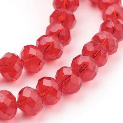 70 Faceted Rondelle Mixed Colours Glass Beads Crystal 8Mm