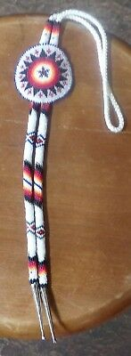 """Native American Beaded Medallion Bolo Tie 19"""" White Hand Made Glass Beads"""