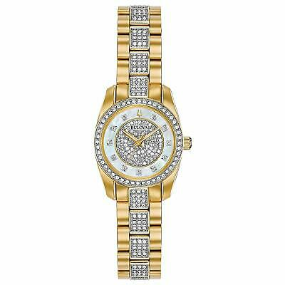 Bulova Quartz Crystal Accented Gold Tone Stainless Steel Ladies Watch 98L241
