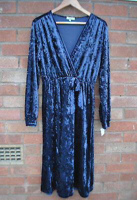 242dd784293 Ladies BNWT TK Maxx Blue Crushed Velvet Wrap Effect Midi Dress Long Sleeve L