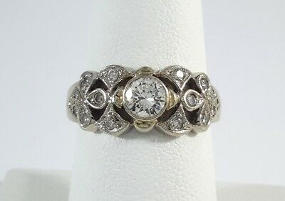 Vintage Old-Cut Diamonds on White Gold Ring - R9853