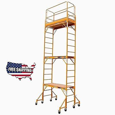 18 FT Baker Style Scaffold W/Guard Rail &Outriggers Painting Drywall Scaffolding