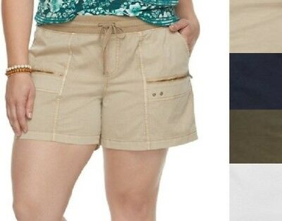 d28d33a4d59 NEW Womens Sonoma Ultra Comfort Waistband Shorts Zipper Accent Stretch Plus  Size